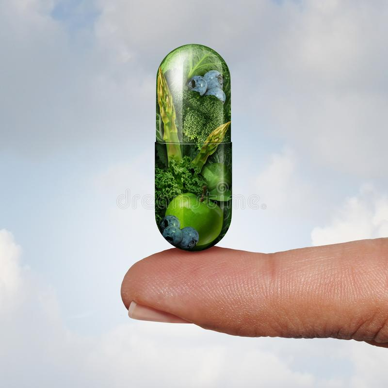 Health Food Vitamin. Health vitamin and dietary supplement as an alternative medicine and naturopathy or homeopathy symbol as a finger holding a gree pill with stock illustration