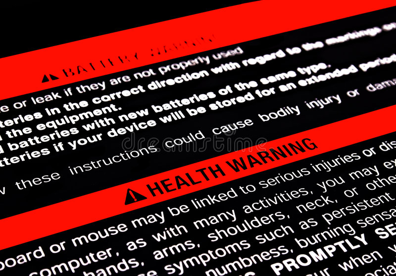 Health warning stock photography
