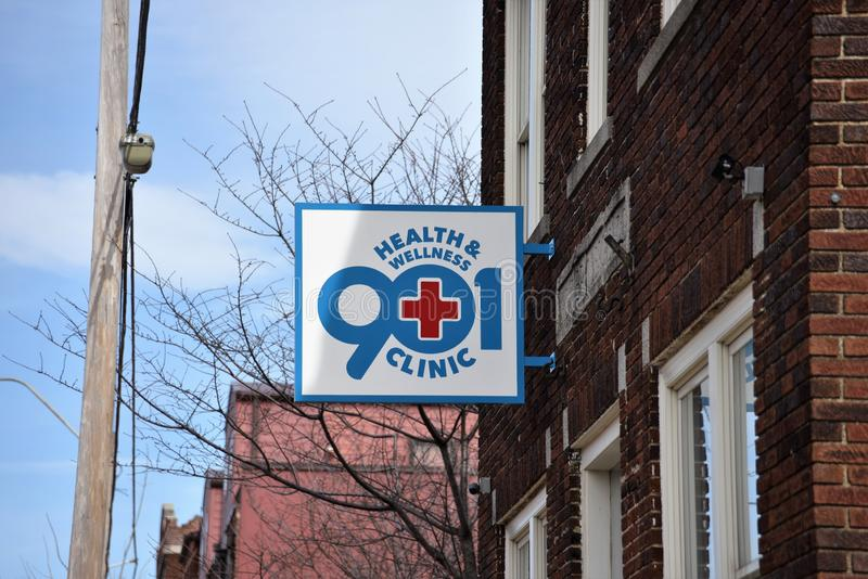 Health and Wellness 901 Family Clinic Sign, Memphis, TN royalty free stock photo