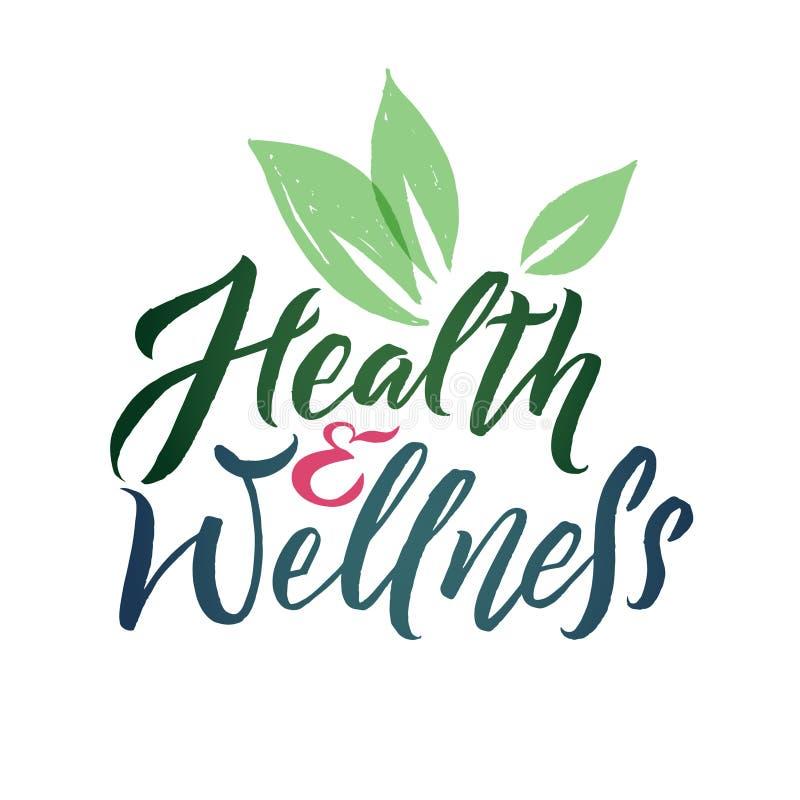 Health and Wellness Studio Vector Logo. Stroke Green Leaf Illustration. Brand Lettering stock illustration