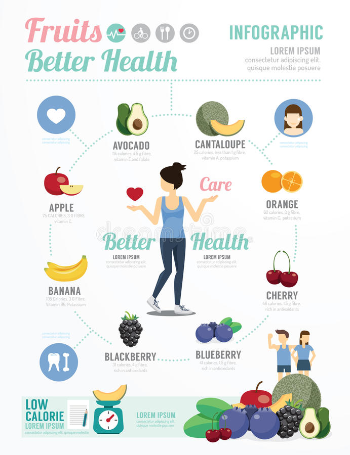 Health and Wellness Template Design Fruit for Healthy Infographic . concept vector illustration vector illustration