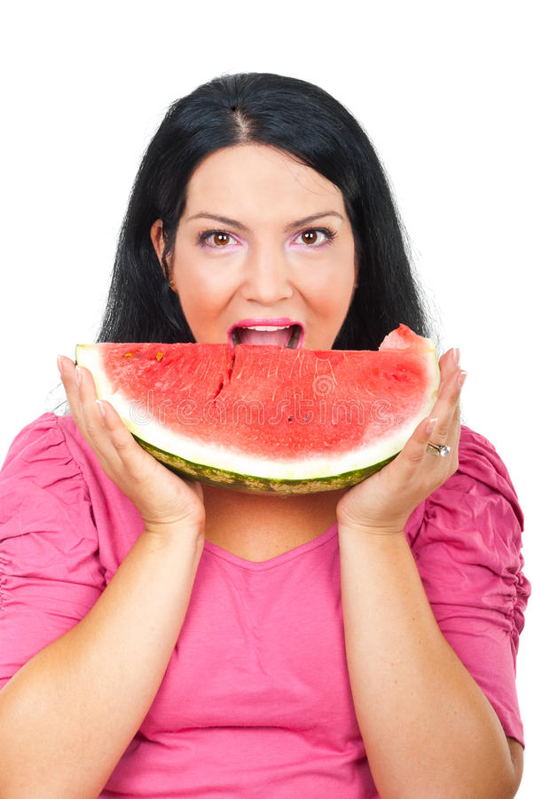 Health Woman Eating Watermelon Stock Images