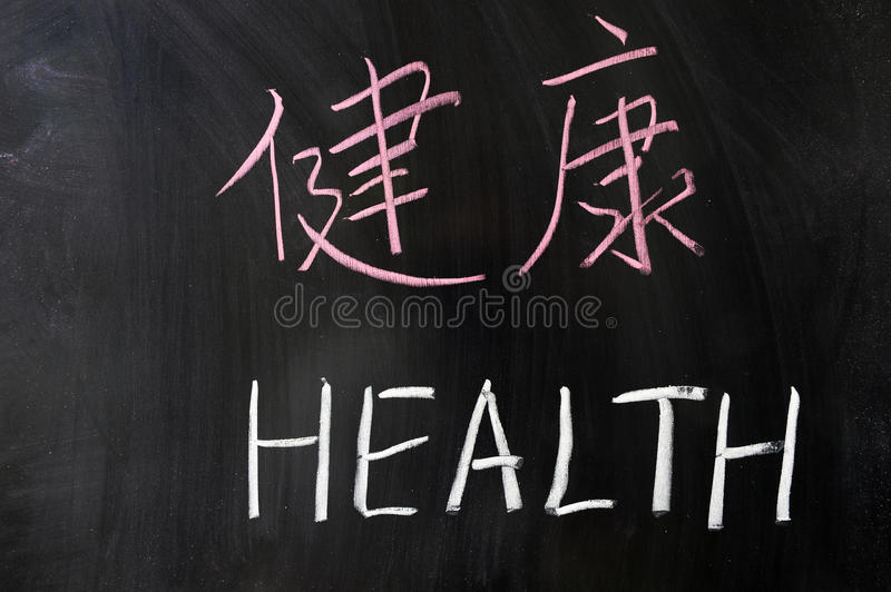 Health word in Chinese and English