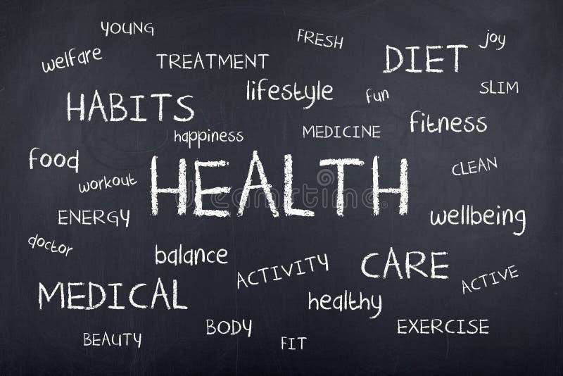 Health Word Cloud Background Design. Health word cloud on chalkboard royalty free stock photos