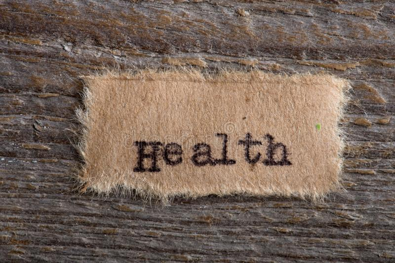 Health word typed on a piece of paper, concept for healthcare to maintain your health in order royalty free stock images