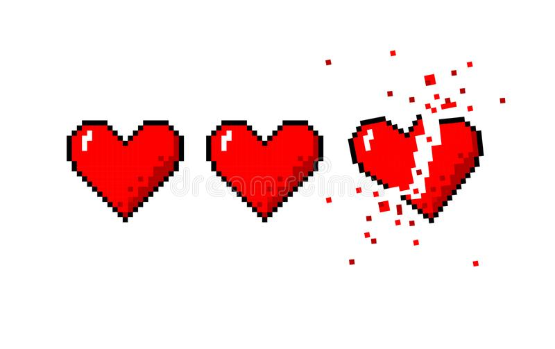 Healthbar сердец и одного разбитого сердца иллюстрация штока
