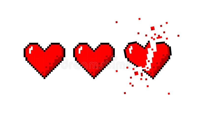 Healthbar dos corações e de um coração quebrado ilustração stock