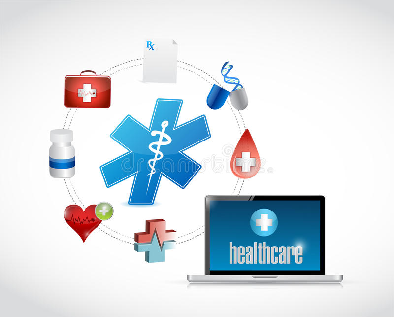Healthcare access diagram icons royalty free illustration
