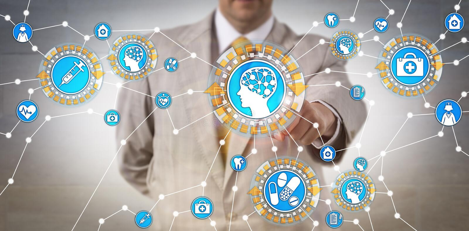 Healthcare IT Administrator Activating AI Via IoT. Unrecognizable health care IT administrator activating machine intelligence via internet of things. Tech stock images