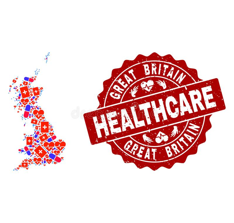 Healthcare Collage of Mosaic Map of Great Britain and Scratched Seal vector illustration