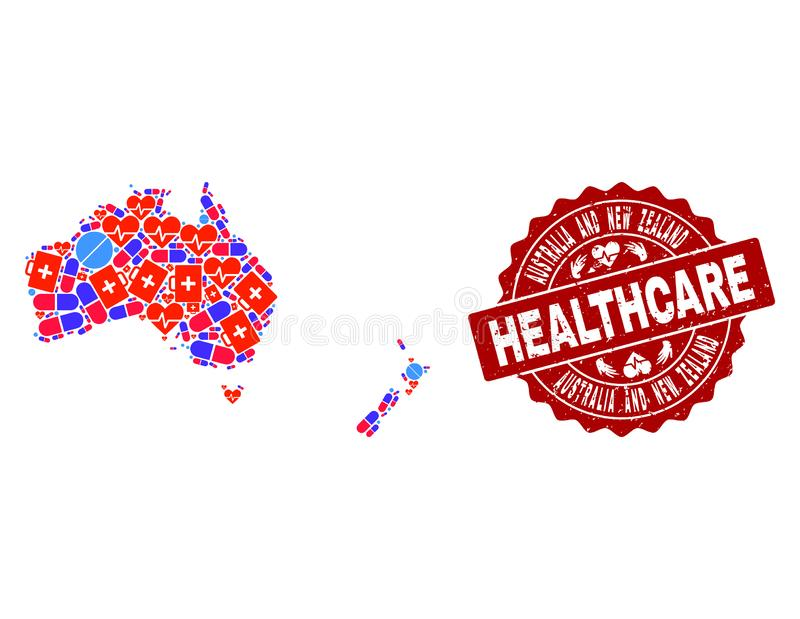 Healthcare Composition of Mosaic Map of Australia and New Zealand and Distress Seal Stamp stock illustration
