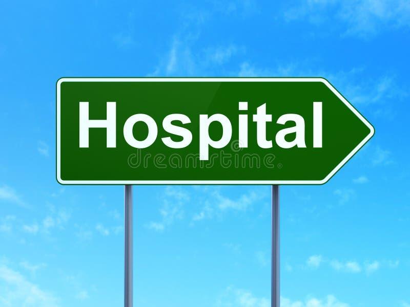 Healthcare concept: Hospital on road sign background. Healthcare concept: Hospital on green road highway sign, clear blue sky background, 3D rendering vector illustration