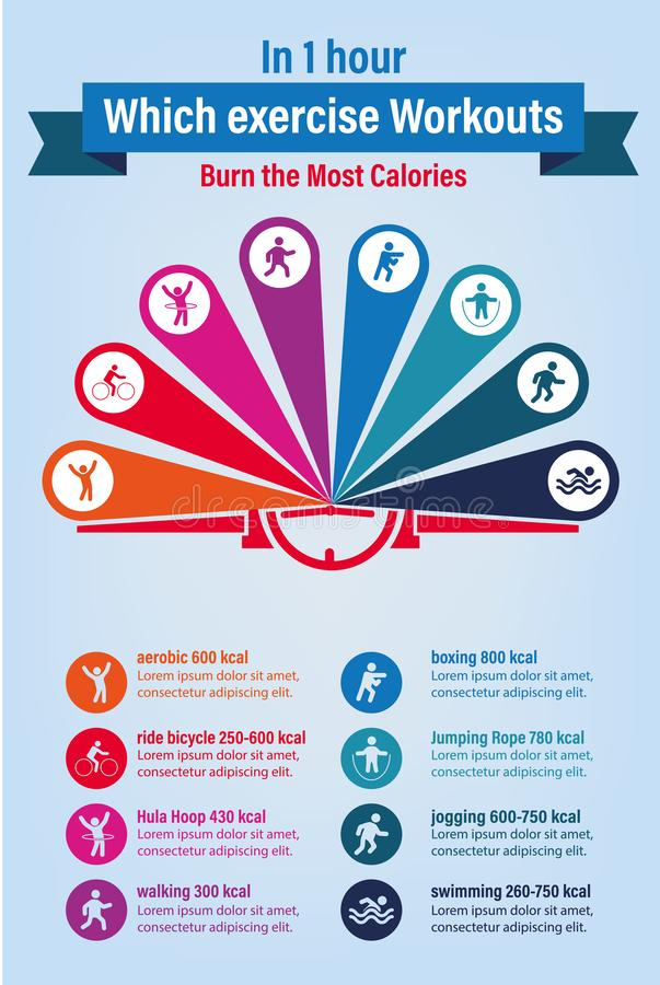 Healthcare concept in one hour which exercise workouts burns the most calories. Infographic vector and illustration stock illustration