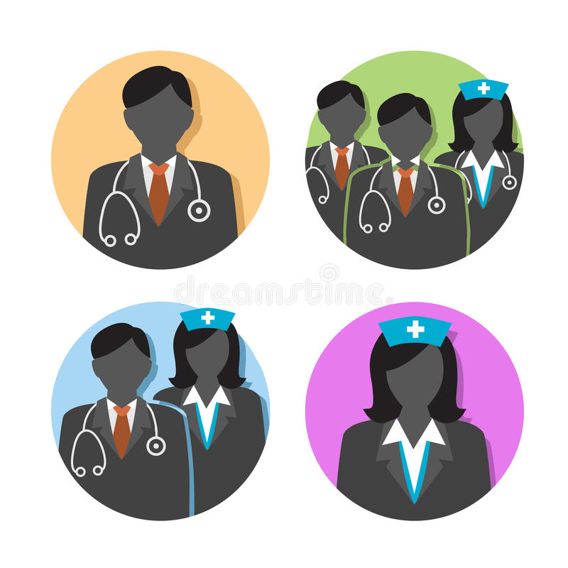 Healthcare Doctor and Nurse Icons. With People Figures and Stethoscopes, Nurse`s Hats, and Medical Scrubs stock illustration