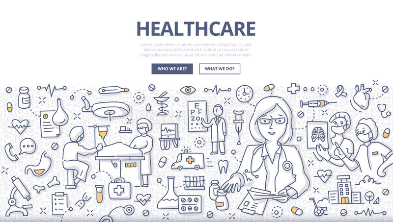 Healthcare Doodle Concept. Doodle illustration of a healthcare system & medical organization. Concept of health care diagnosis, treatment and surgery for web vector illustration