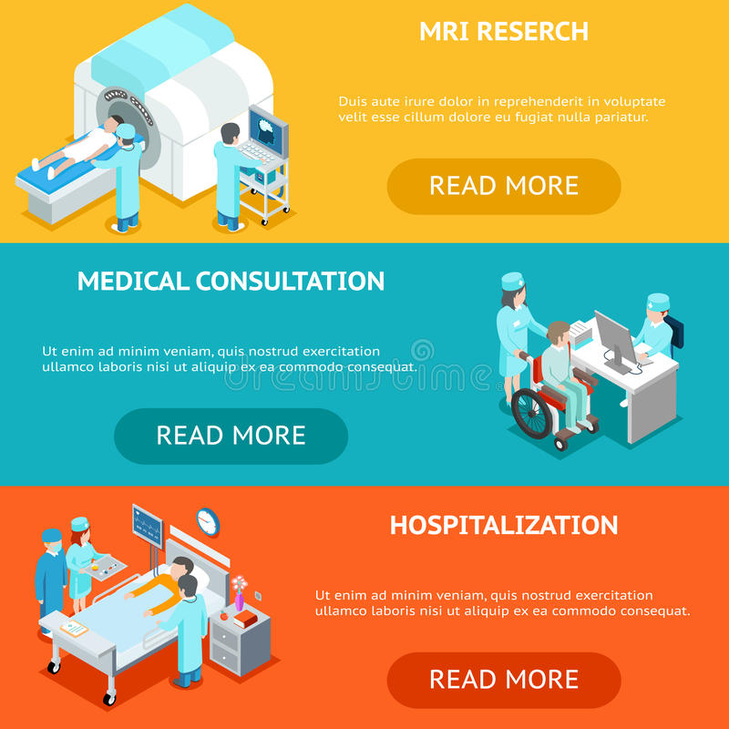 Healthcare flat 3d isometric banners. MRI medical research, consultation and hospitalization stock illustration