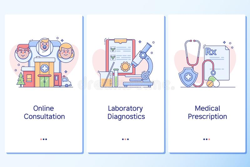 Healthcare and healthy lifestyle. Web site linear art onboarding screens template. vector illustration