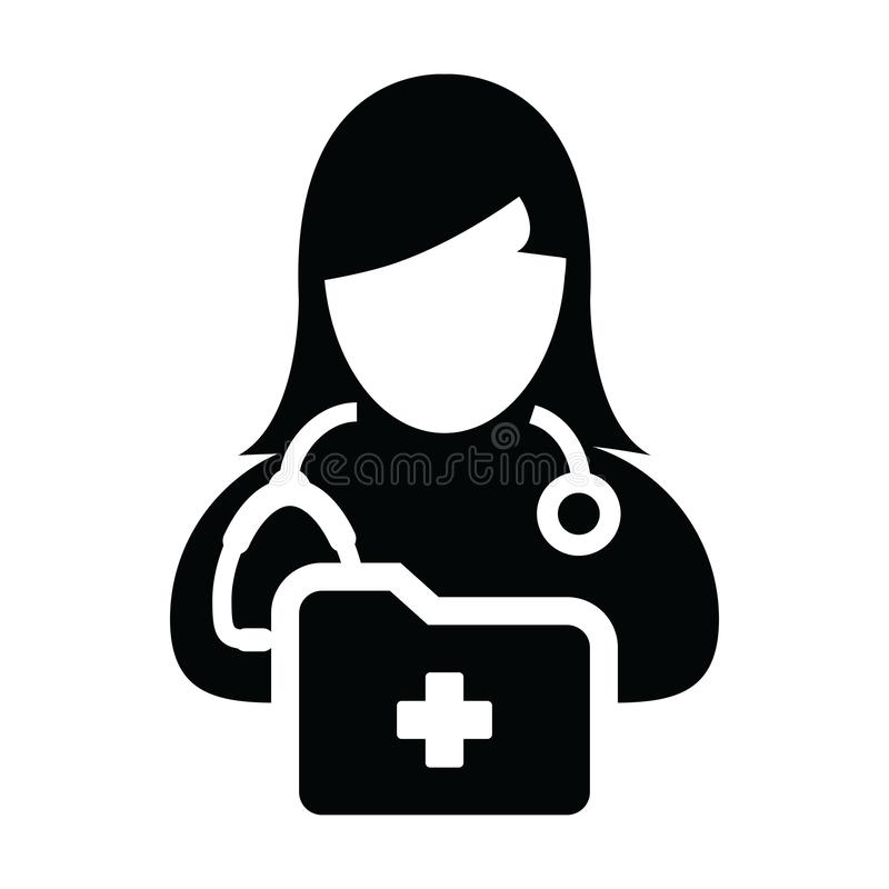 Healthcare icon vector female doctor person profile avatar with stethoscope and medical report folder for medical consultation. In Glyph pictogram illustration vector illustration