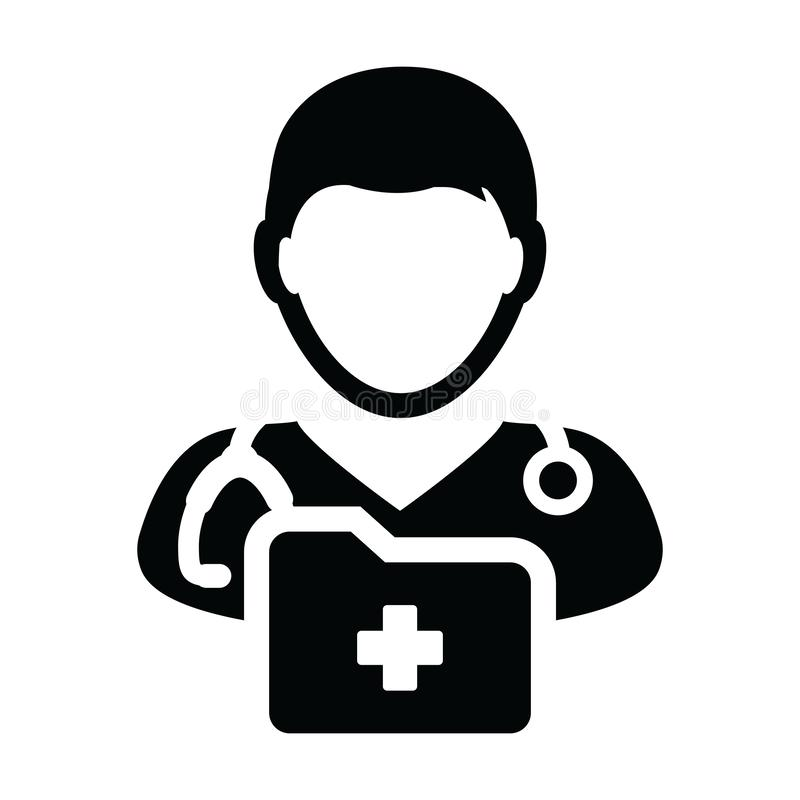 Healthcare icon vector male doctor person profile avatar with stethoscope and medical report folder for medical consultation. In Glyph pictogram illustration vector illustration