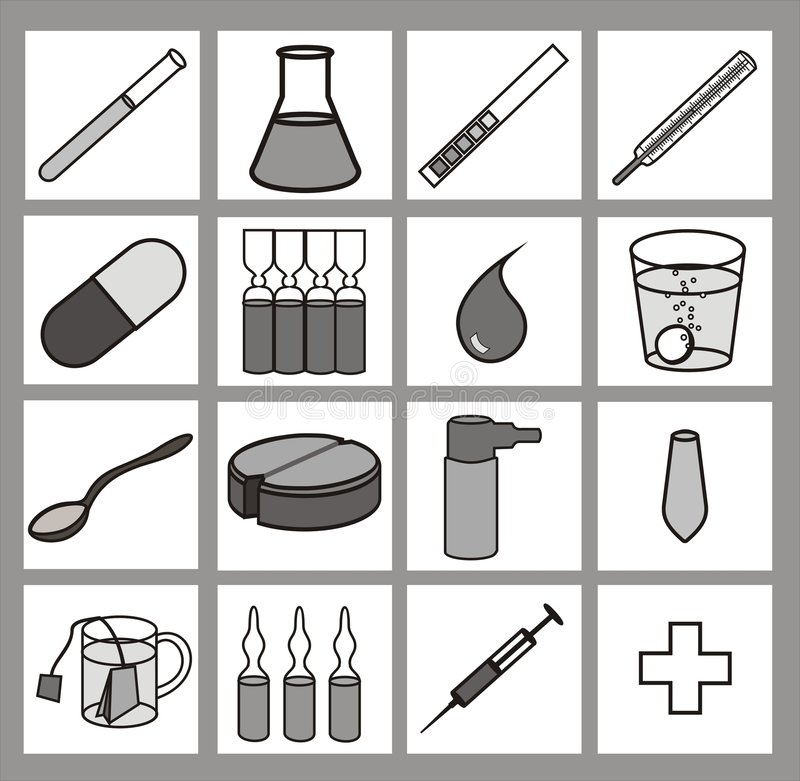 Download Healthcare Iconset Black-and-white Stock Vector - Image: 1572748