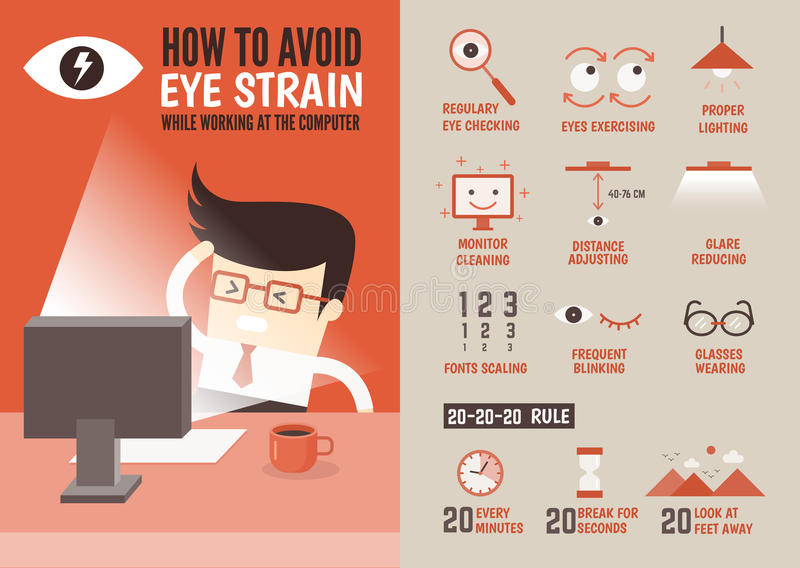 Healthcare infographic cartoon character about eyestrain preven stock illustration