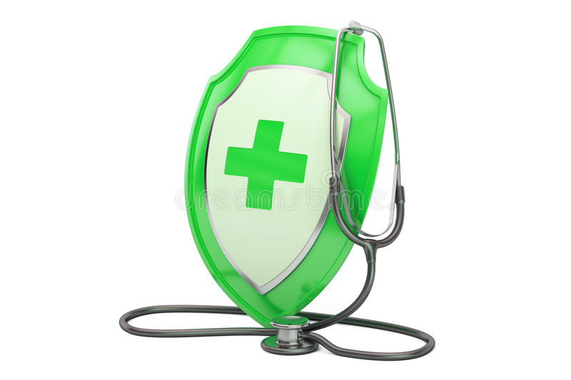 Healthcare insurance concept. Stethoscope with shield. 3D render. Healthcare insurance concept. Stethoscope with shield. 3D royalty free illustration