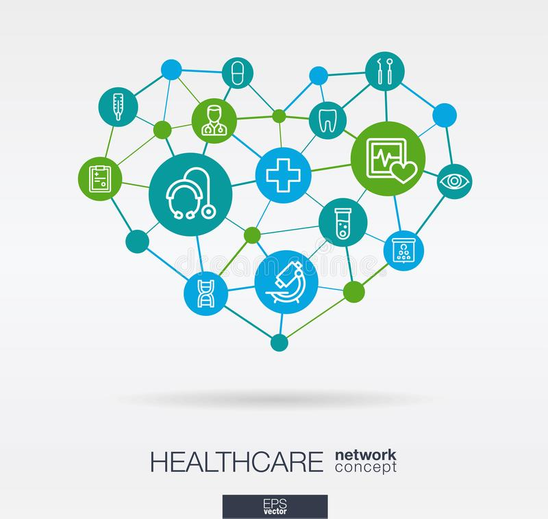 Healthcare, integrated thin line icons in heart shape. Digital neural network concept royalty free illustration
