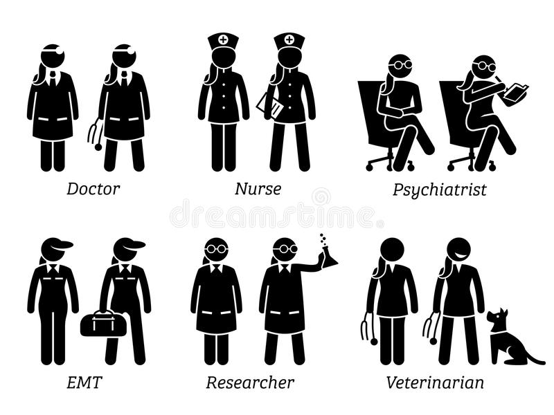 Healthcare Jobs, Works, and Occupations for Women. Artworks depict female doctor, nurse, woman psychiatrist, girl EMT, lady researcher, and female veterinarian stock illustration