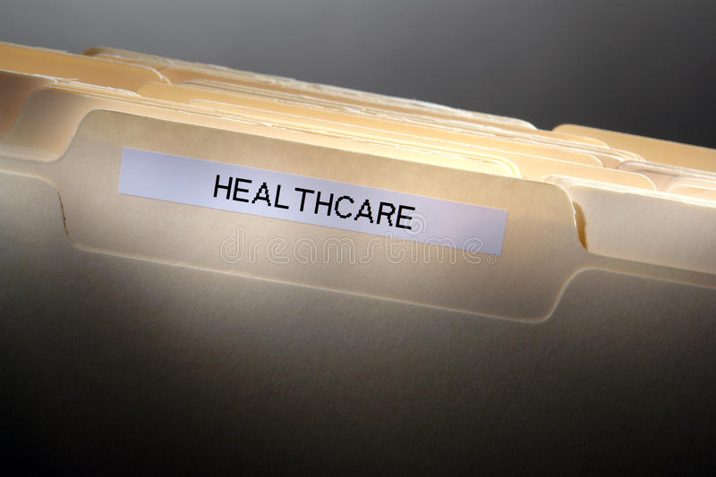 Healthcare Label on Medical History File Folder stock photo