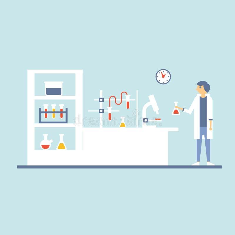 Healthcare Laboratory Testing Room, Flat Design stock illustration