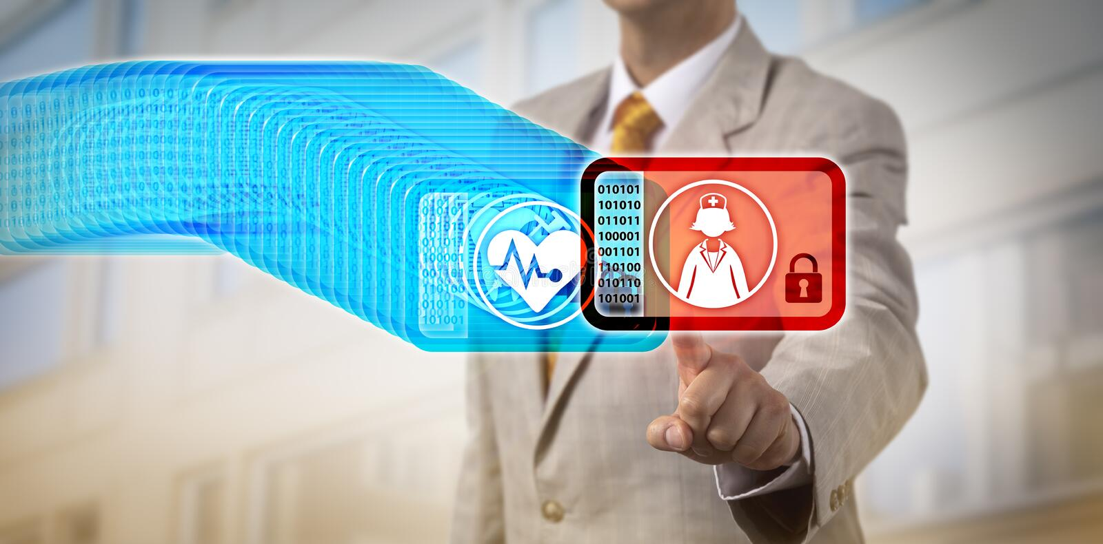 Healthcare Manager Accessing Latest Block Via DLT royalty free stock photo