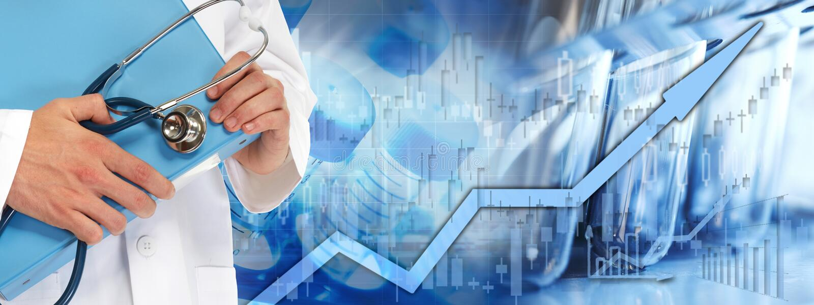 Health care stock market background. Healthcare medical biopharmaceutical investing stock chart background royalty free stock images