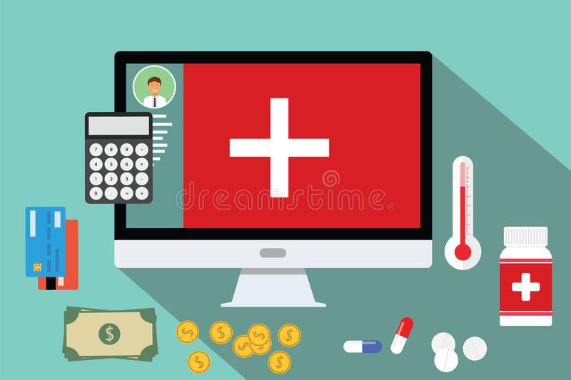 Healthcare medical expense money health. Expenditure spend stock illustration