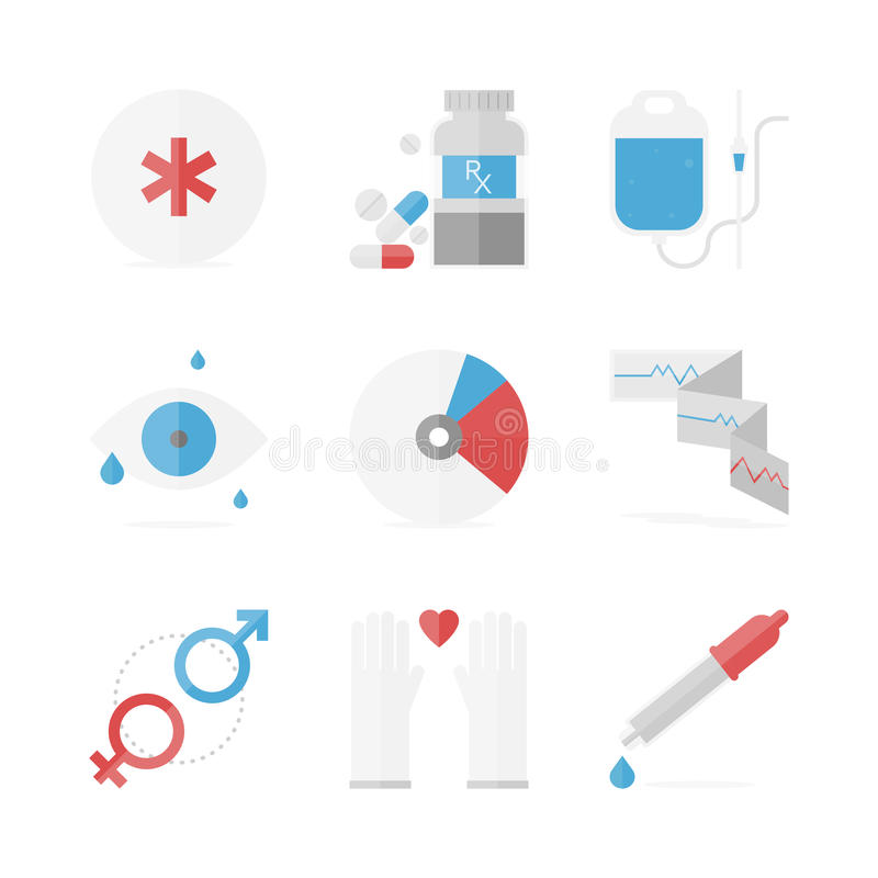 Healthcare and medical flat icons set. Flat icons set of healthcare and medicine service, medication pills and drugs recipe, clinical records and eye care. Flat royalty free illustration