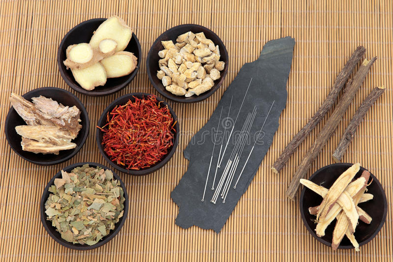 Healthcare and Medicine. Acupuncture needles with chinese herbal medicine selection over bamboo royalty free stock image