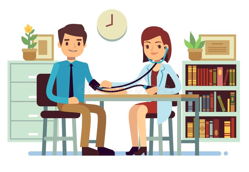 Healthcare and medicine vector concept with doctor checking patients blood pressure stock illustration