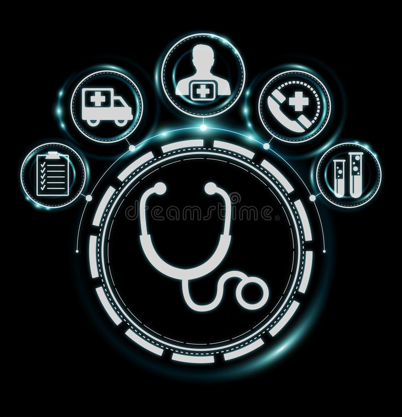 Healthcare modern interface 3D rendering. Healthcare modern interface on black background 3D rendering stock illustration