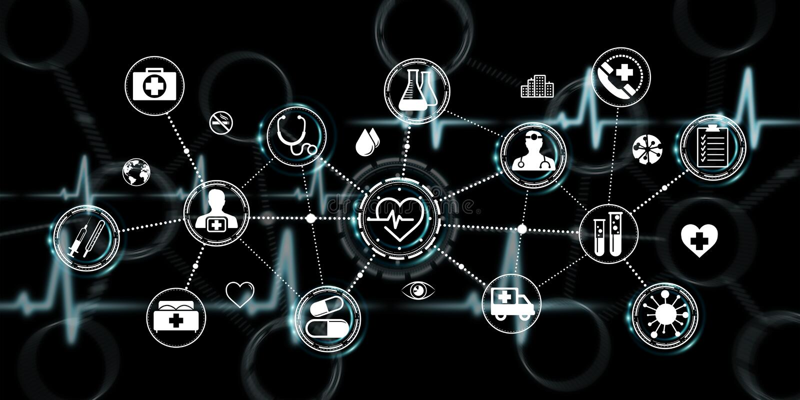 Healthcare modern interface 3D rendering. Healthcare modern interface on black background 3D rendering vector illustration