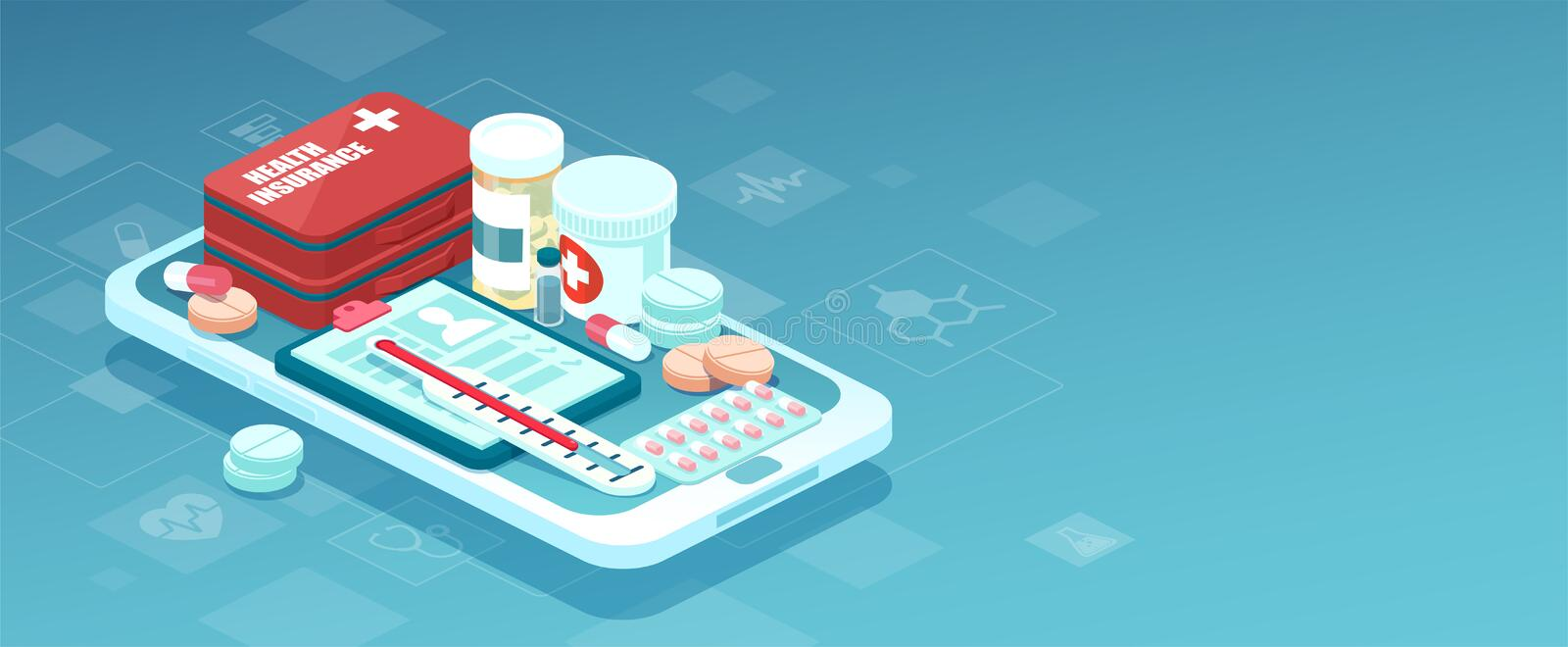 Vector of prescription drugs, first aid kit and medical supplies being sold online via smartphone application technology vector illustration