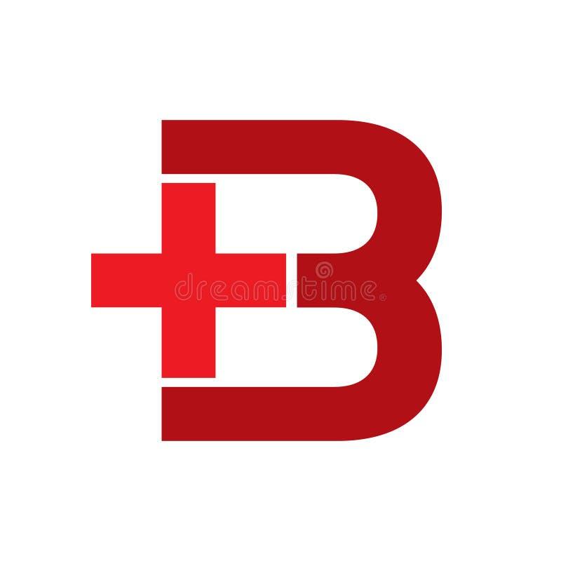 Healthcare Plus letter B red. Logo design, minimalist, badge logo royalty free illustration