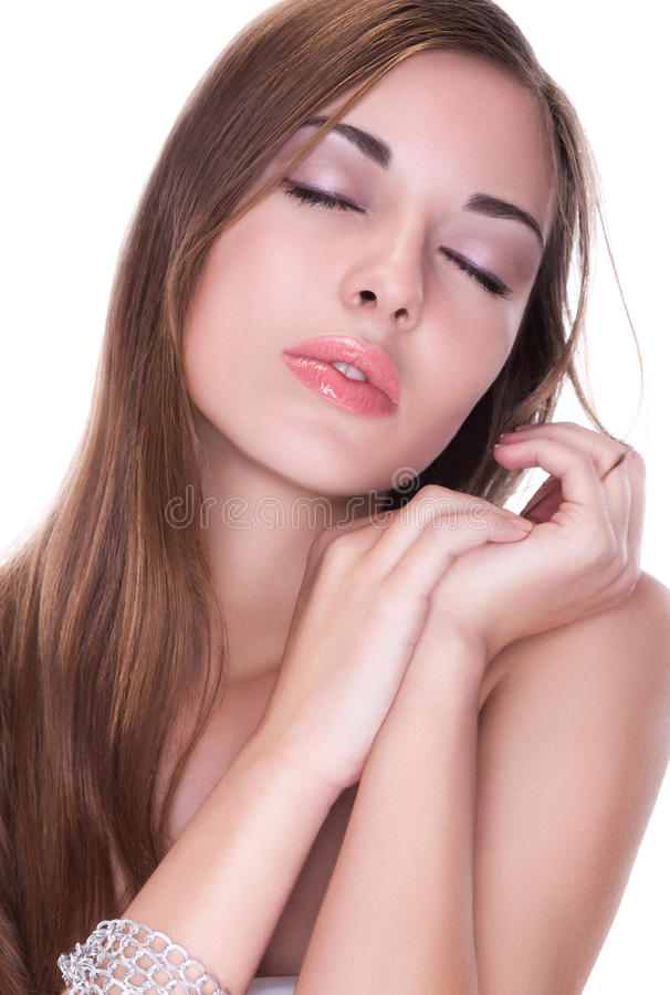 Healthcare. Pure Beauty Daydreaming - Clean Natural Skin Royalty Free Stock Photos