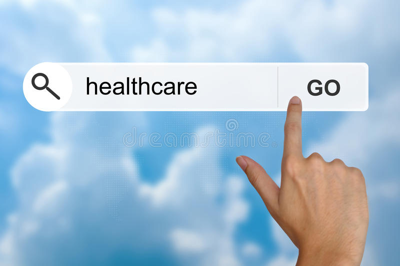 Healthcare on search toolbar. Healthcare button on search toolbar royalty free stock photos