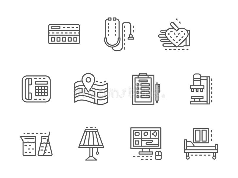 Healthcare services black line icons set. Symbols of healthcare services. Private clinic, mobile app, medical examination and tests. Collection of simple black vector illustration