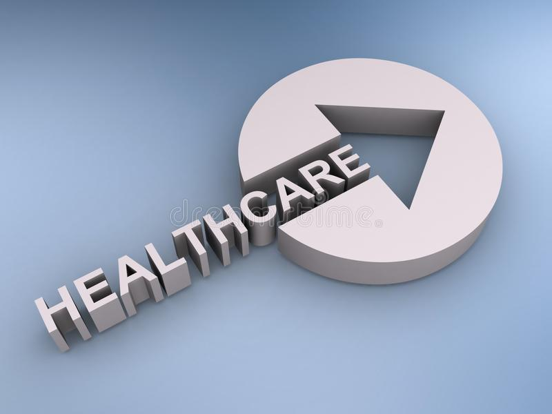 Healthcare sign. Abstract 3d illustration of healthcare sign with directional arrow stock illustration