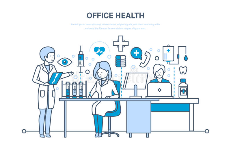 Healthcare system, office health, working atmosphere and health of employees. Modern medicine and healthcare system, office health, working atmosphere, health royalty free illustration