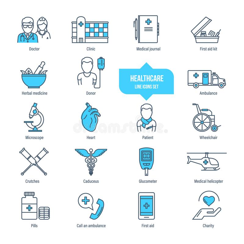 Healthcare thin line icons, pictogram and symbol set. Ambulance, pharmacology. Healthcare thin line icons, pictogram set. Icons for medical services, ambulance vector illustration