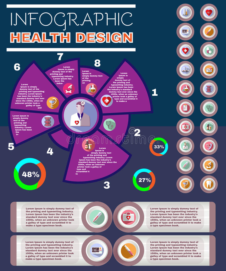 Healthcare Vector Infographic Pamphlet stock illustration