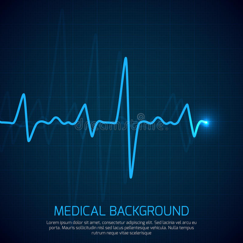 Healthcare vector medical background with heart cardiogram. Cardiology concept with pulse rate diagram. Digital cardiogram, illustration of diagnostic curve royalty free illustration