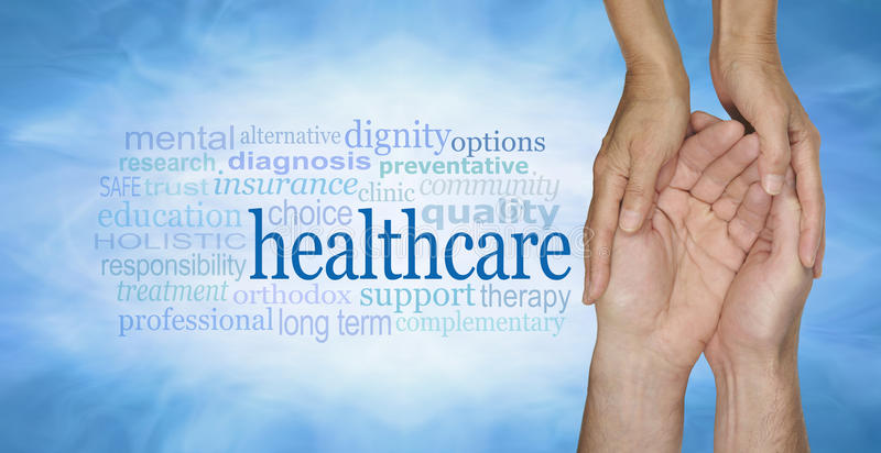 Healthcare Word Cloud. Female hands gently cradling male hands on a pale misty blue vignette background with a healthcare word cloud to the left stock photos