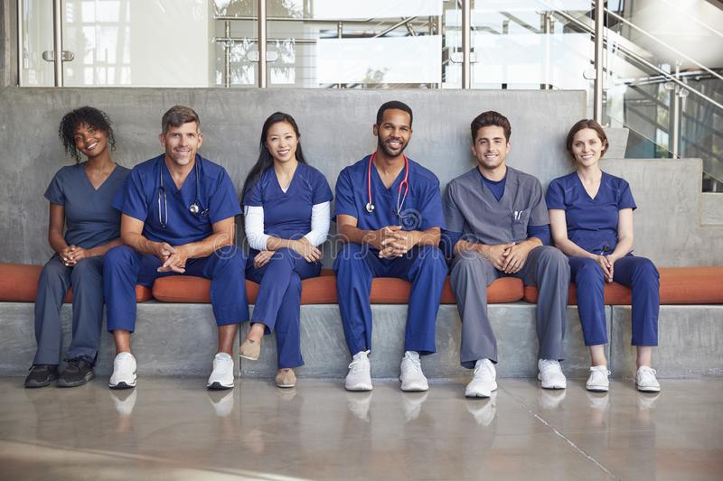 Healthcare workers sitting in a modern hospital, low angle stock photography